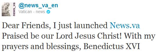 Papst Benedikt via Twitter