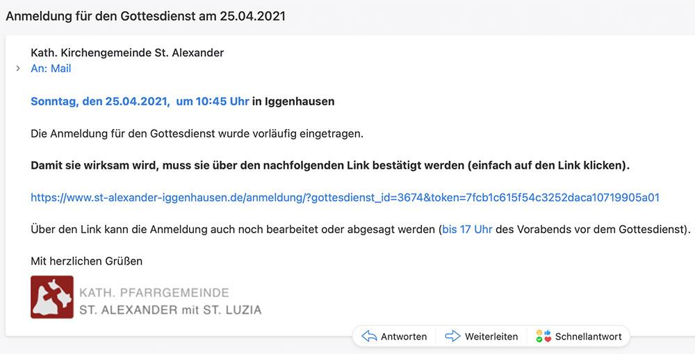 Eingegangene Mail - dort via Klick auf den Link die Anmeldung bestätigen